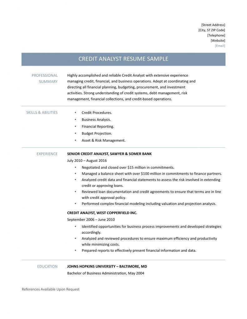 A Quick Breakdown Of How To Craft A Beautiful Outline For Your Professional Credit  Analyst Resume  Credit Analyst Resume Sample