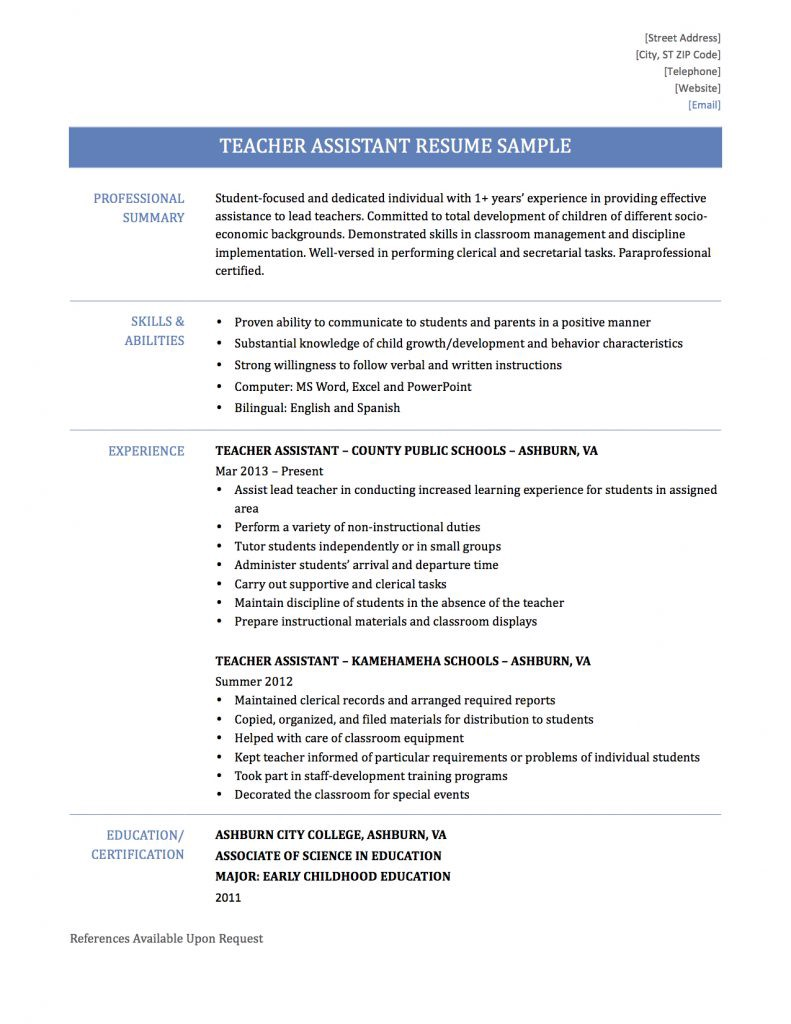 Teaching Assistant Resume Samples Templates and Tips