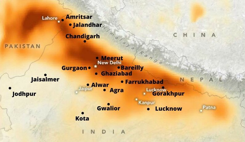 Image result for NASA showing widespread stubble burning across north India