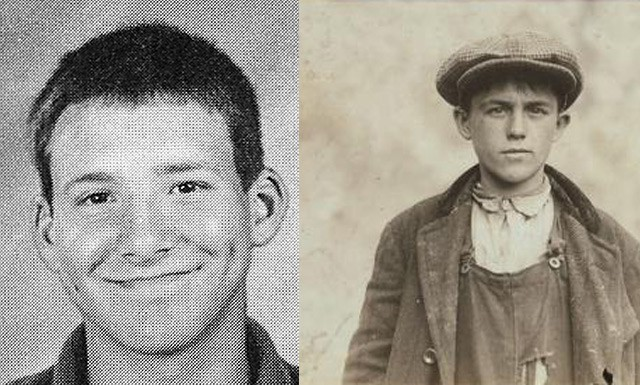 Left: Dallas Cowboys  Quarterback Tony Romo, age 17. Right:  Irish Sweeper in Fall River Iron Works, age 17, circa 1900.