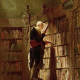 old man at bookshelf