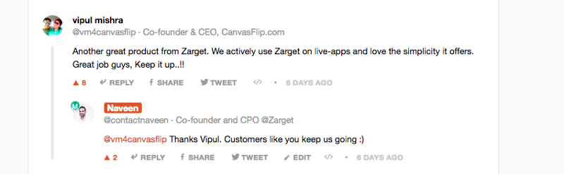 ProductHunt comment - customers