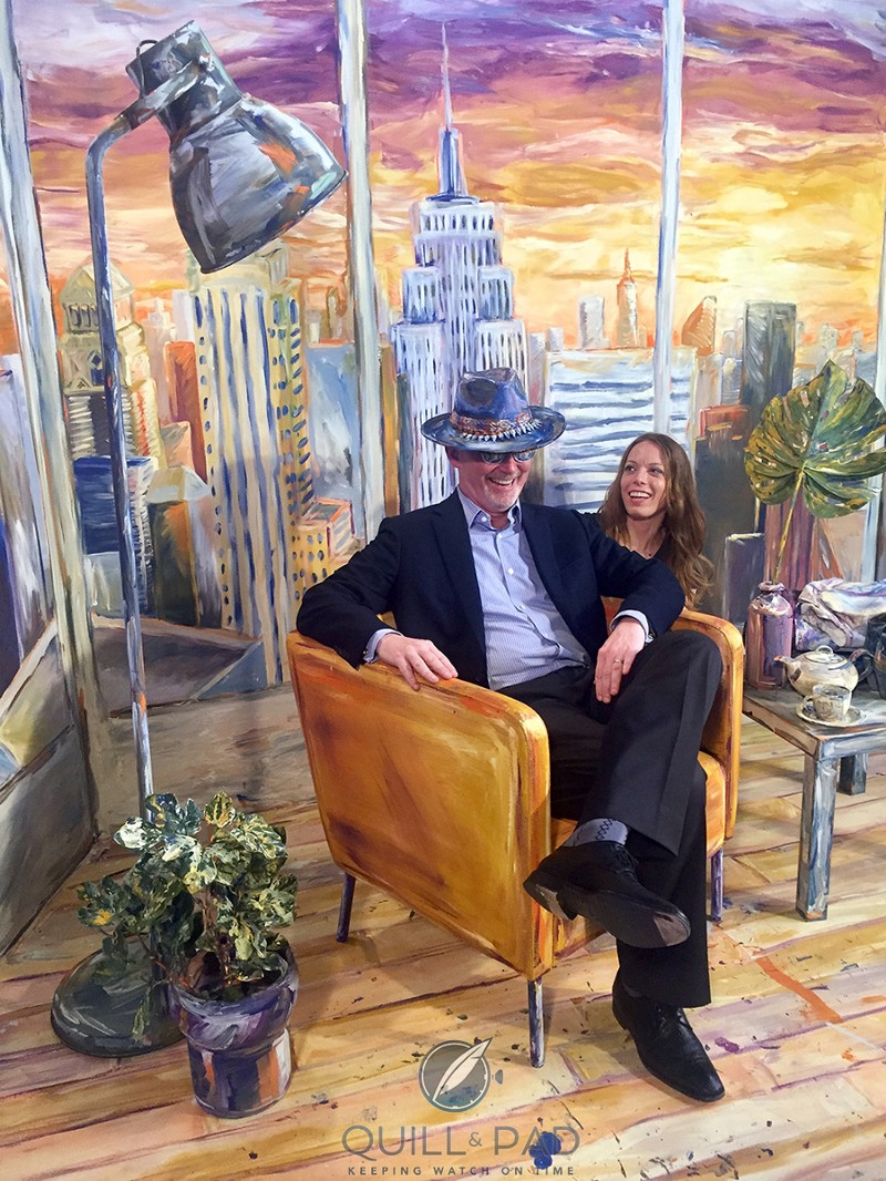 Wearing the hat: the author with artist Alexa Meade at Baselworld 2017 (photo courtesy MichaelH)