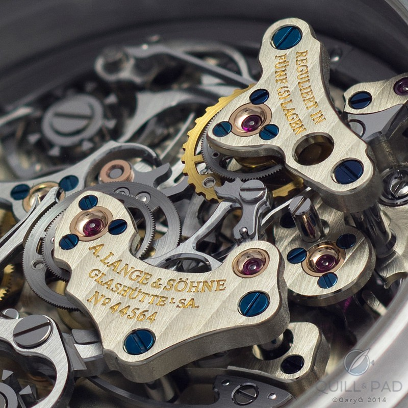 Towers of power: A. Lange & Söhne Double Split assemblies controlling split seconds and minutes, with screwed gold chatons