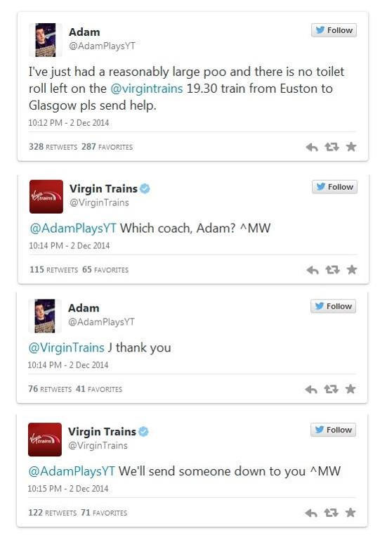 12 powerful ways social listening can grow your business — examples of customer service via Twitter from Virgin Trains