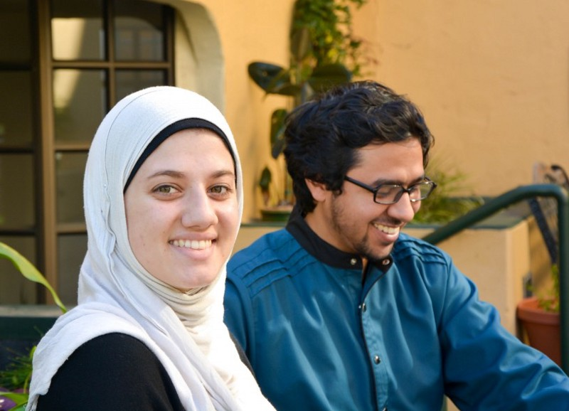 Iman Hamze, left, and Nirav Bhardwaj, right, a married couple that met at Zaytuna. Hamze is a former lacrosse star, and Bhardwaj — a Muslim convert — worked as a scout for the LA Angels baseball team before coming to the school.
