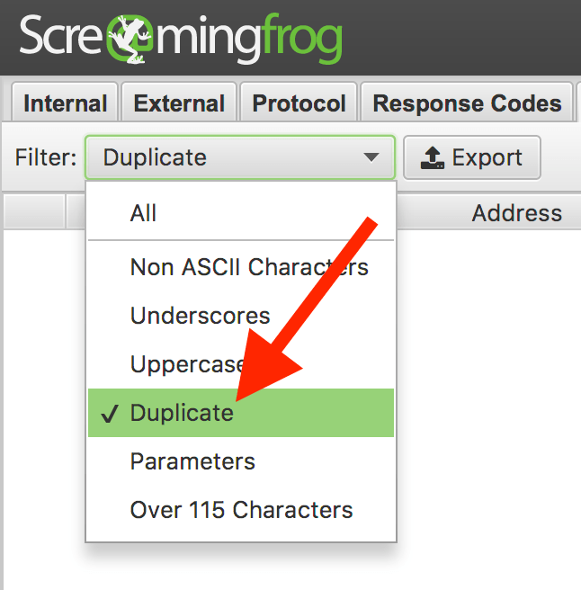Screaming Frog scan and detect duplicate content