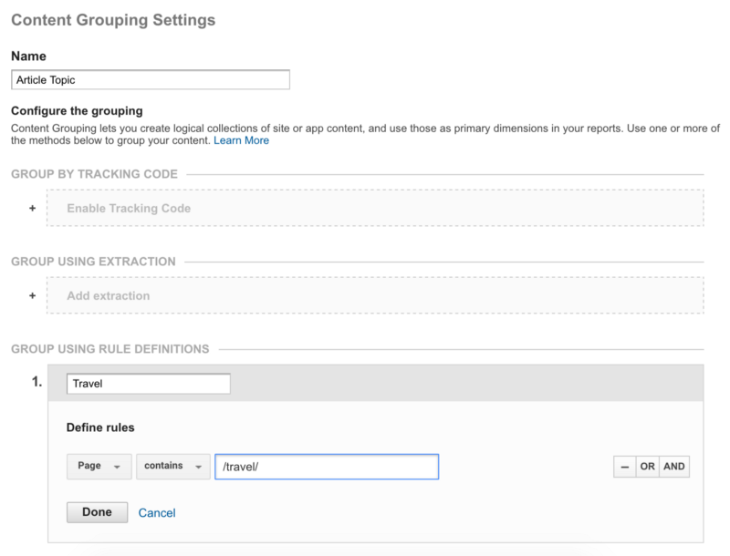 google analytics content grouping settings