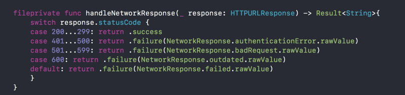 handleNetworkResponse function