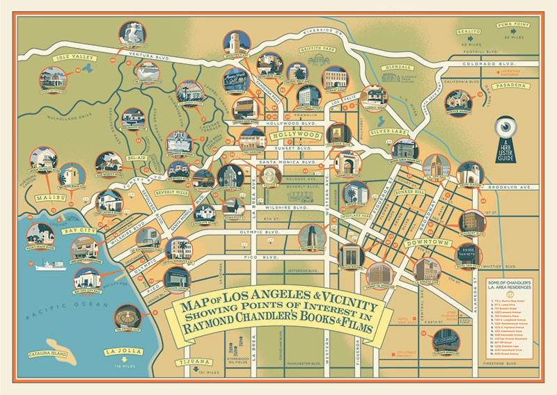 A Map of Raymond Chandler's Fictional LA in Real-Life LA - Electric California Points Of Interest Map on