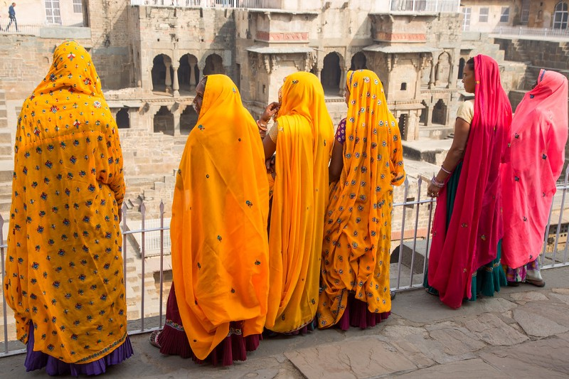 Women in Their Colorful Dress at the Abhaneri Stepwells