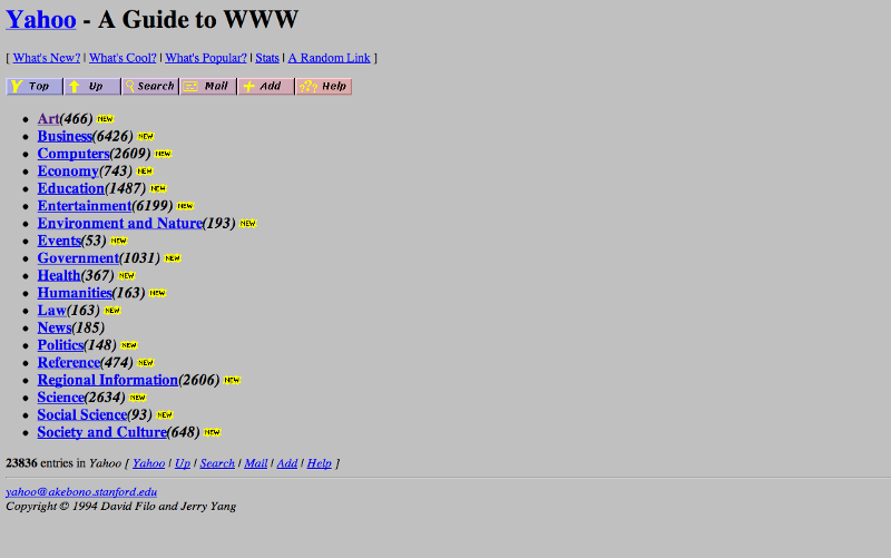 First Version of Yahoo Website