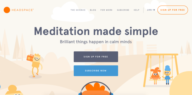 Headspace homepage illustrations