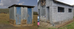 Latrine before and after