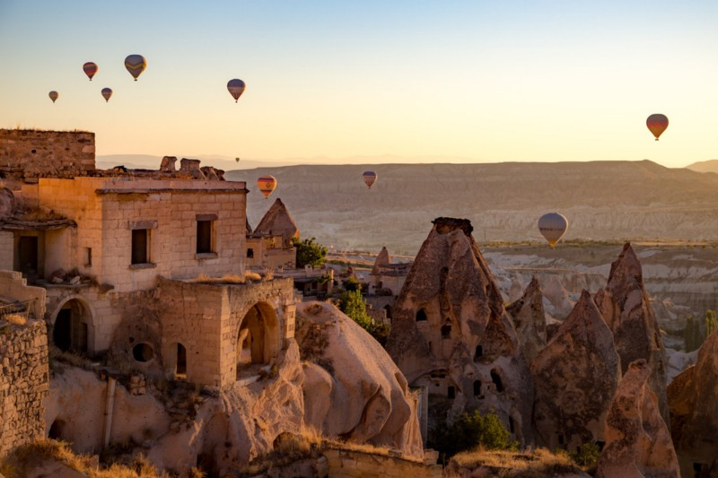Morning View of Pigeon Valley from the Taskonaklar Hotel in Cappadocia, Turkey