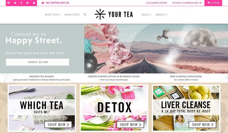 Your Tea header with different tea option, fantasy tea picture and shop now ctas