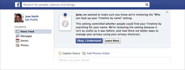 Facebook change privacy settings notificiation