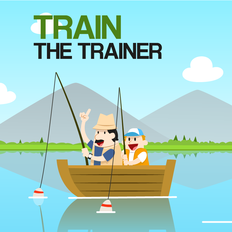 Train the Training in writing over an illustrated scene of a father son fishing trip.