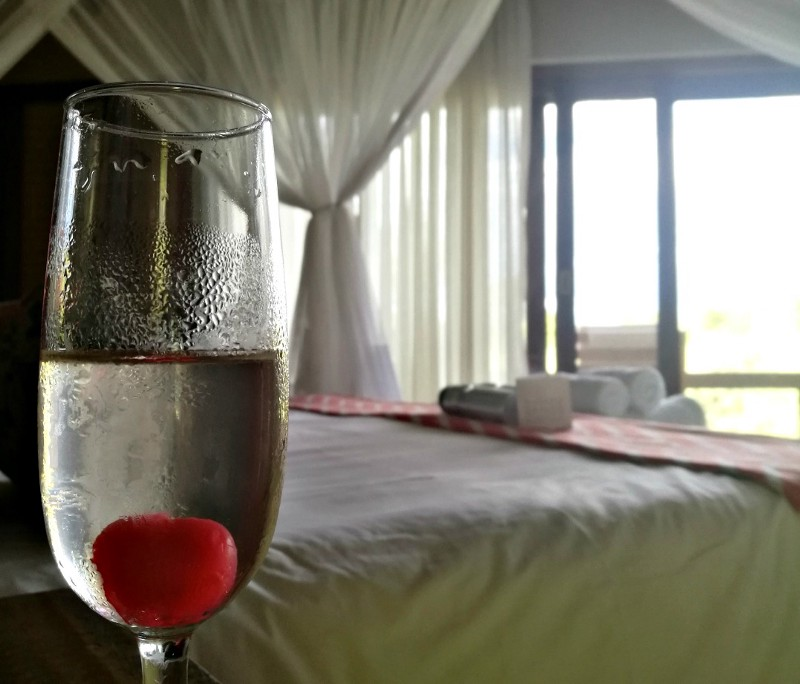 champagne glass in luxury hotel room