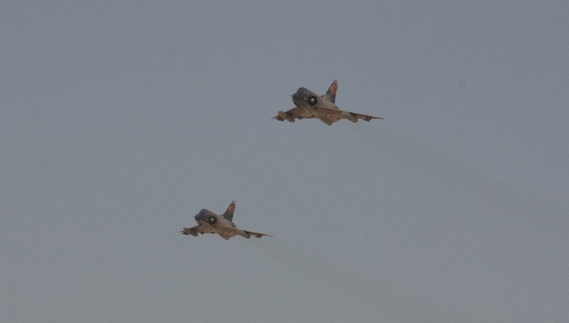 Two Egyptian Air Force Mirage fighter jets execute a bombing run during a Combined-Arms Live-Fire Exercise conducted as part of Exercise Bright Star 2009 in Egypt, Oct. 14. The multinational exercise is designed to improve readiness, interoperability, and strengthen the military and professional relationships among U.S., Egyptian and participating forces. Bright Star is conducted by U.S. Central Command and held every two years. Elements of the 22nd MEU are currently are participating in the multi-national exercise while serving as the theater reserve force for U.S. Central Command.
