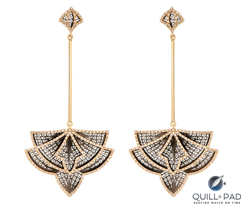 Eleuterio earrings in yellow gold and ruthenium from the Couture collection