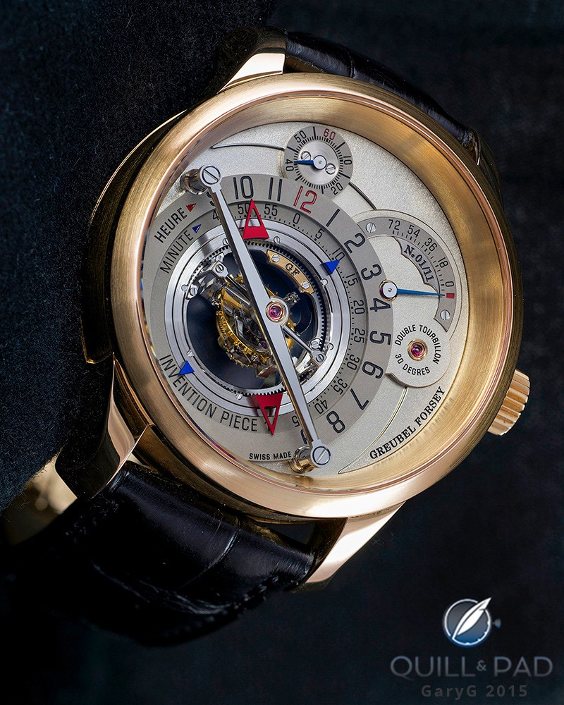 It's tough to mistake the characteristic Greubel Forsey look on the Invention Piece 1