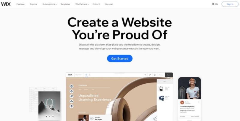 Wix: the foremost flexible designs