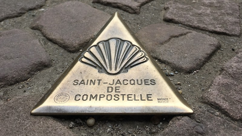 Road Marker for the Camino de Santiago in St. Jean Pier du Port, France