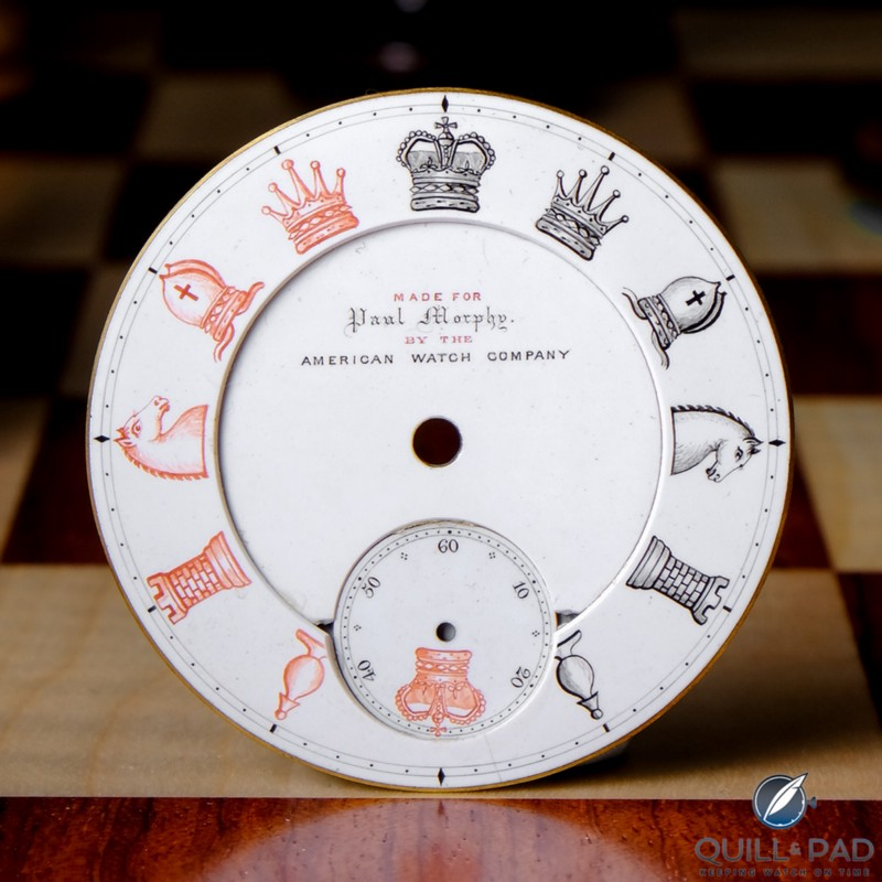 The original dial of Paul Morphy's pocket watch and inspiration for the RGM Chess in Enamel