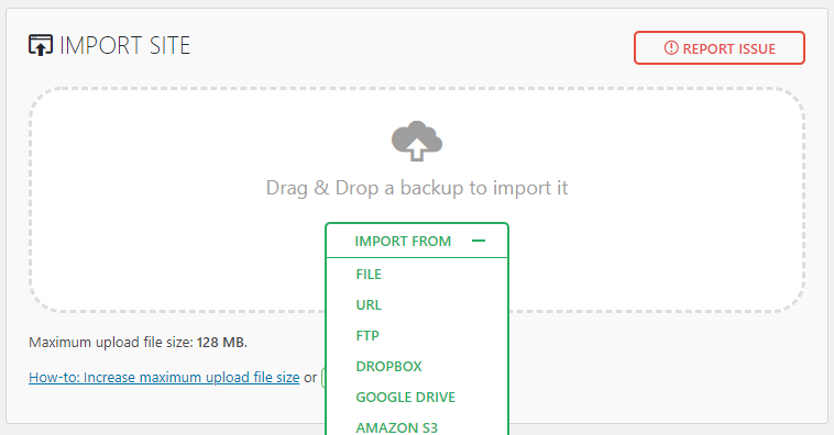 import .wordpress file in all-in-one WP Migration