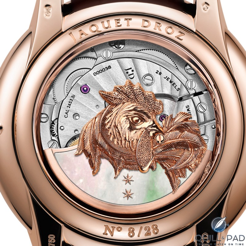 View through the display back of the Jaquet Droz Petite Heure Minute Relief Rooster