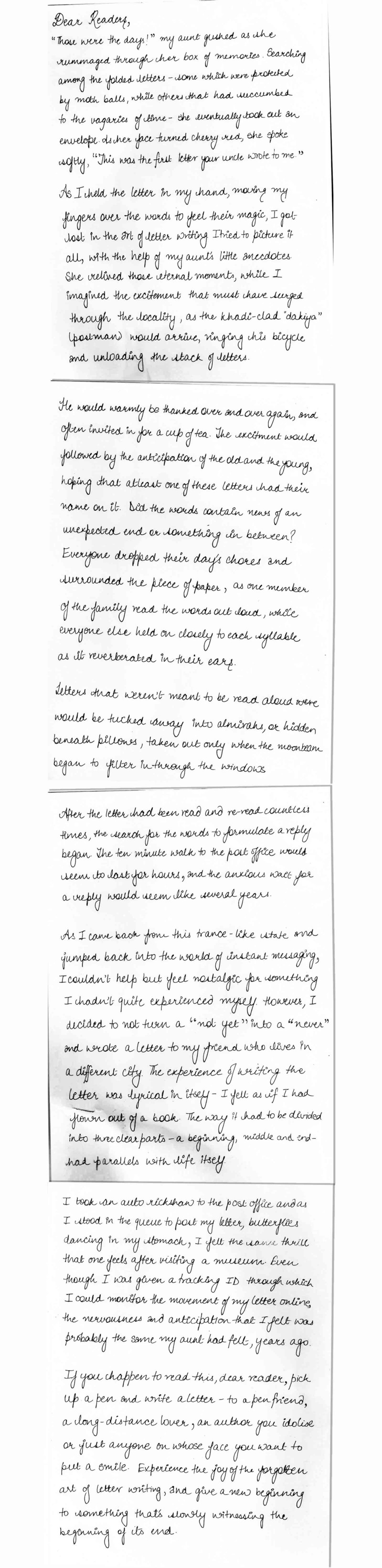 a handwritten letter about the lost art of letter writing