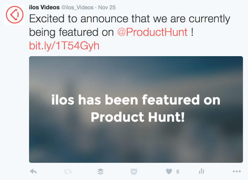 Tweet announcing ilos neing featured on Product Hunt