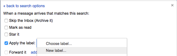 apply a new label in gmail settngs