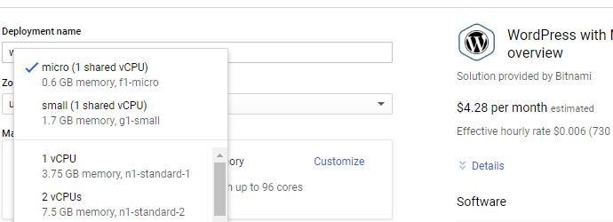 select the smallest as possible instance type in GCP