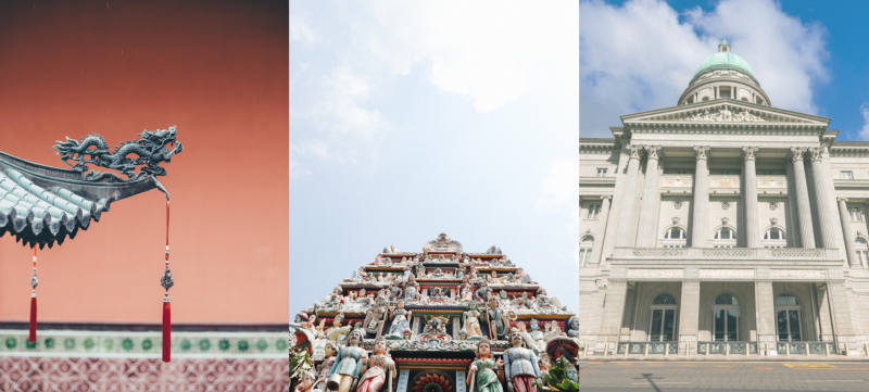 Left: Thian Hock Keng Temple, Middle: Sri Mariamman Temple, Right: National Gallery Singapore