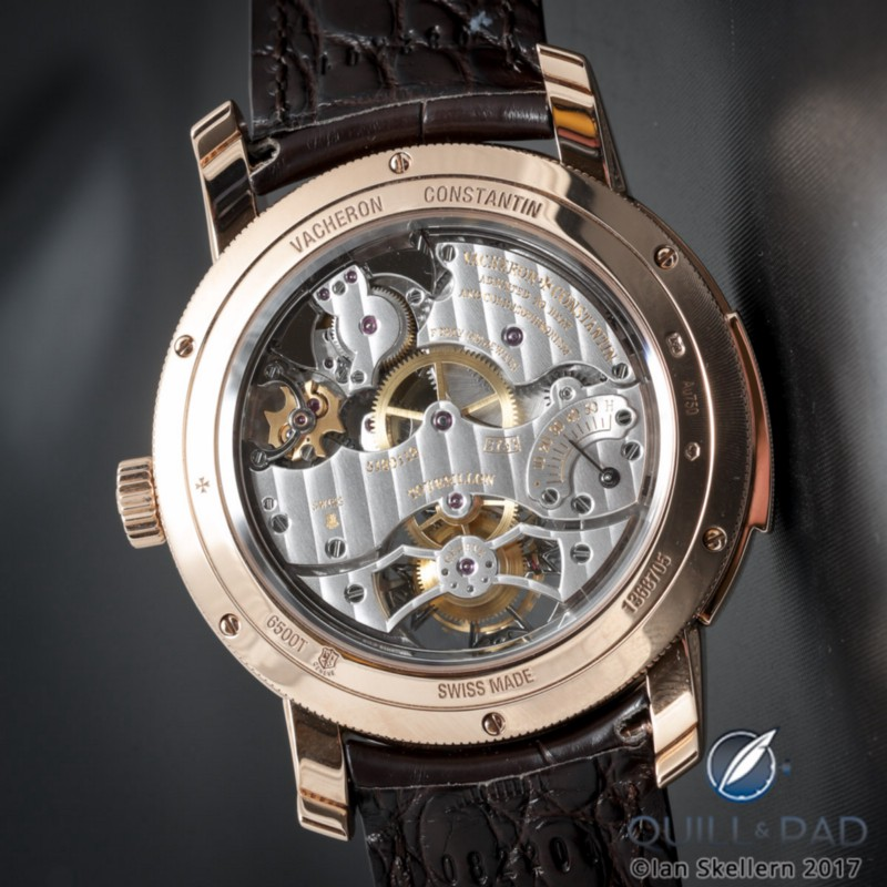 The Geneva Seal is visible on the left of the movement of this Vacheron Constantin Traditionnelle Minute Repeater Tourbillon