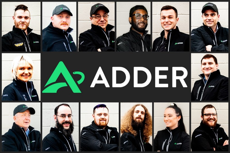 The Adder team in mid-may 2019, featuring Ian Gerard, Kevin Wiley, Bayon Forte, Mark Jackson, Brad Hoffman, Russ Kimberling, Lillie Beiting, Jesse Doyle, Dr. Tim McDonald, Tyler French, Jeremy Fox, Bennett Rieser, Bridgett Howard, and Brandon Bush