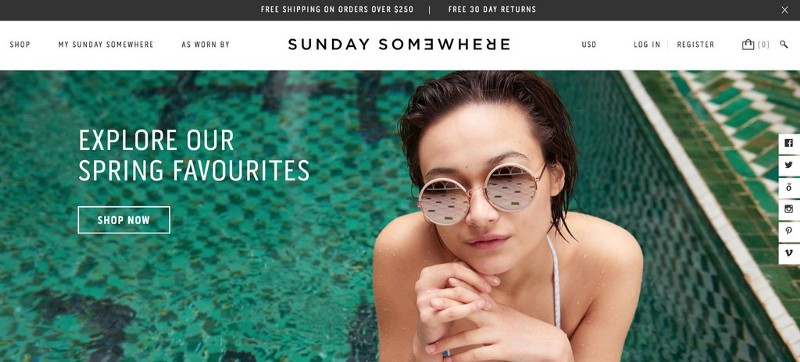 Sunday Somewhere header with a woman in a pool wearing sunglasses and a cta to shop now