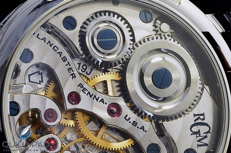 Close up look at the RGM Caliber 801 with its unique winding click top right