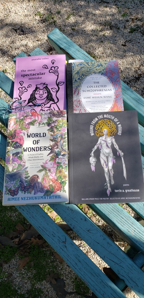 Four books-The Most Spectacular Mistake by Anatalia Valley, The Complete Schizophrenias by Esme Weijun Wang, World of Wonders by Aimee Nezhukumatathil, Wound From The Mouth of a Wound by Torrin a. Greathouse lay on a light blue wooden bench in shady sunlight.