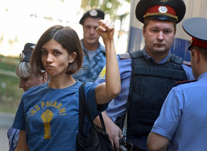 Tolokonnikova gives the rebel salute