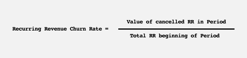The recurring revenue churn rate is t he value of cancelled recurring revenue in a period divided by the total recurring revenue at the beginning of the period