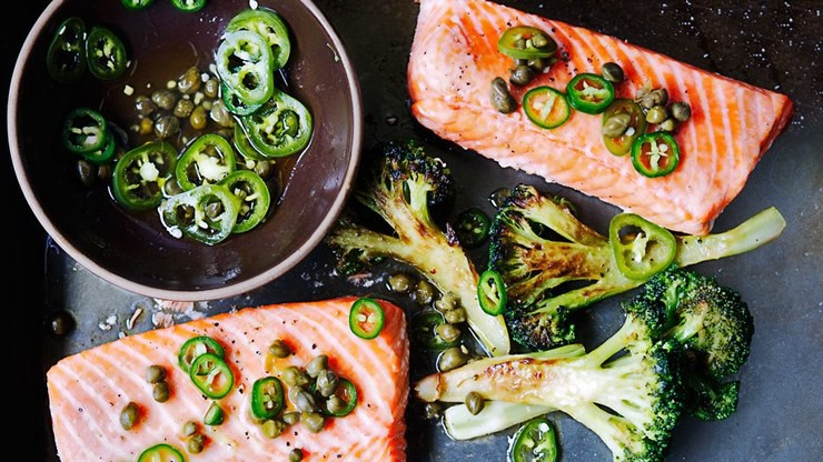 Roast salmon and broccoli with chile caper vinaigrette