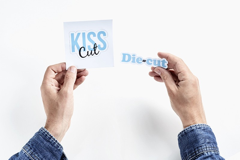 Different kinds of stickers kiss cut vs die cut