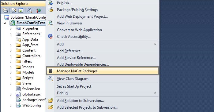 Elmah - Step 1 - Manage Nuget Packages