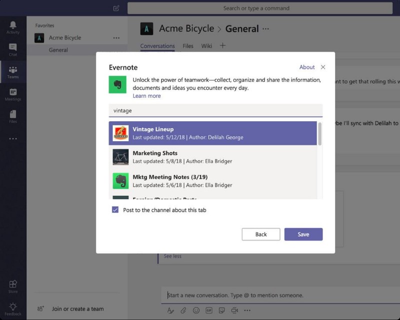 Evernote within Microsoft Teams