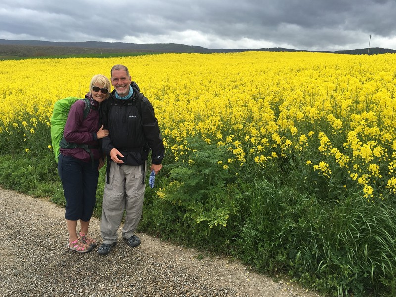 Jon and Sarah Walking the Camino de Santiago Just Outside of Pamplona, Spain