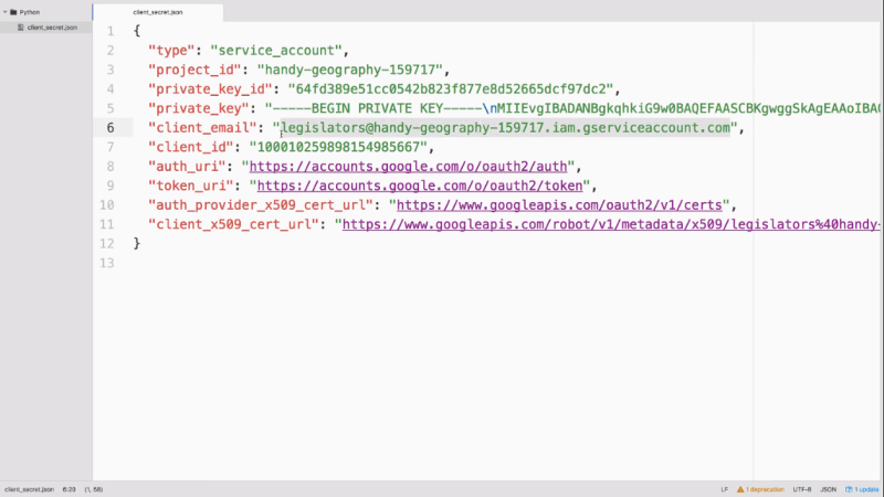 image of Google sheets API json file
