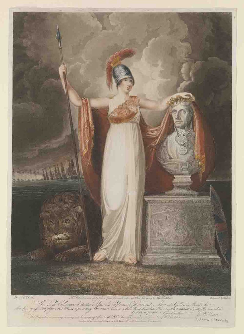 Britannia crowning the bust of our late hero, Lord Nelson. Engraving by A.R. Burt